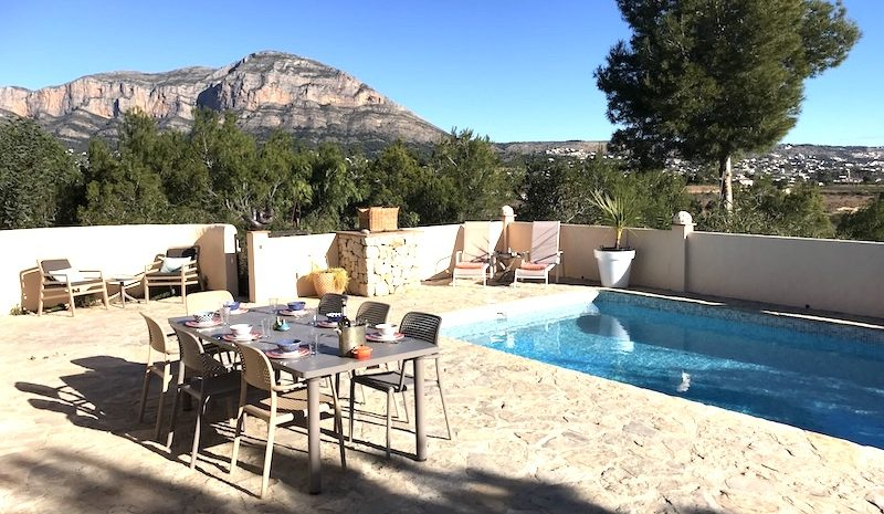 Sun loungers at pool